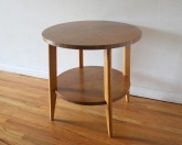 mcm round side end table with burl design 3