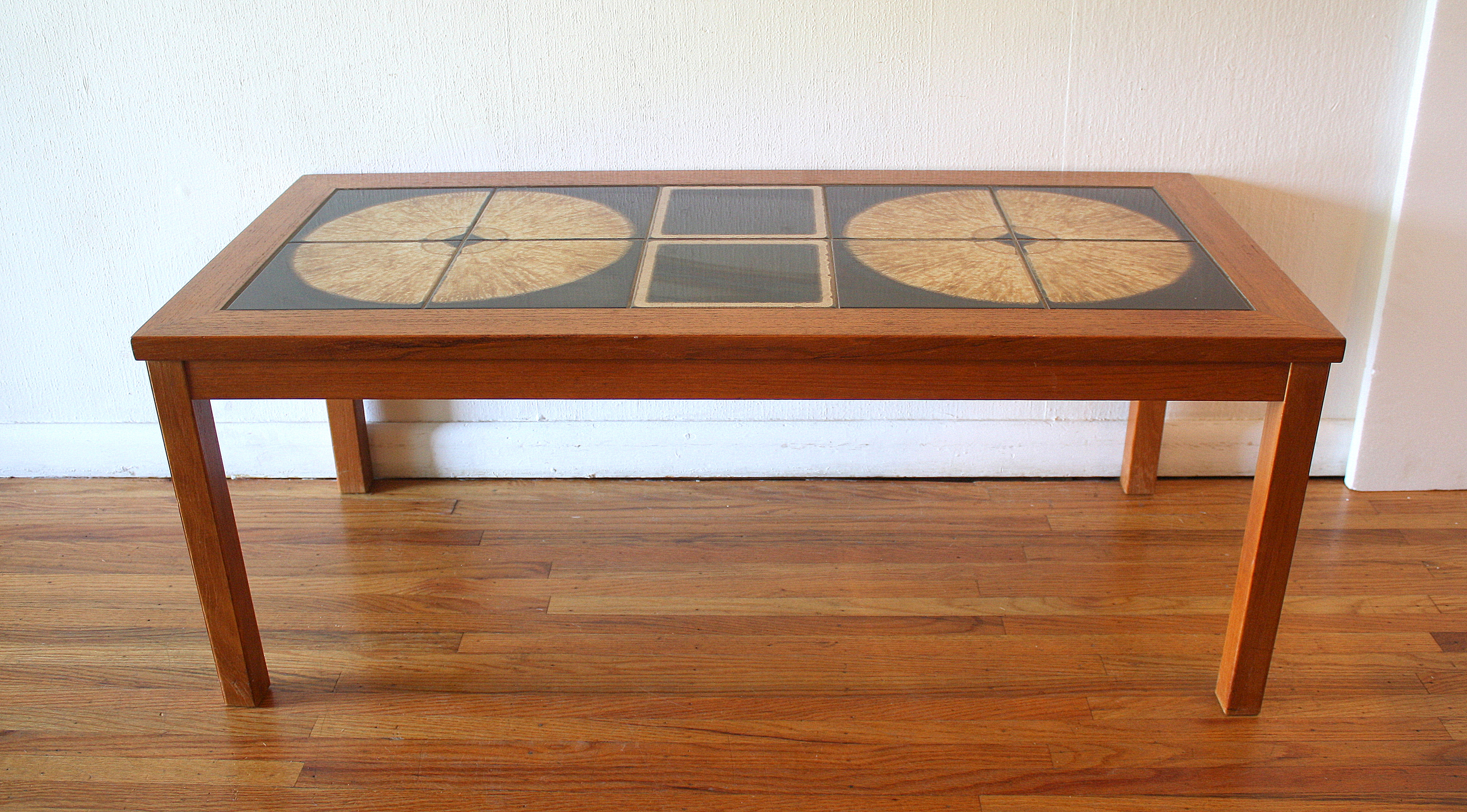 Mid Century Modern Danish Teak Tile Top Coffee Table