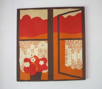 Mid Century Modern Fabric Swedish Wall Hanging Picked Vintage