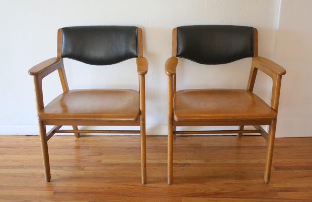 Gunlocke pair of chairs black naugahyde 1