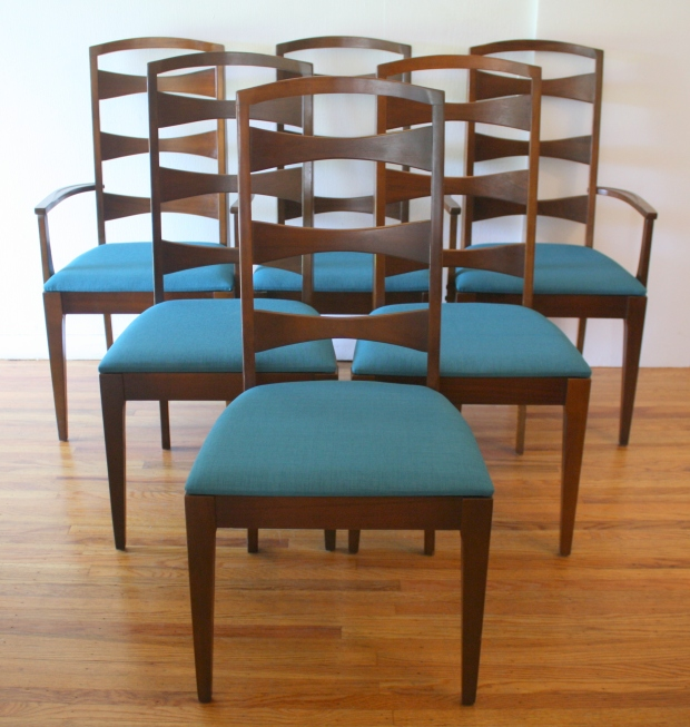 Lenoir chairs with teal tweed 1