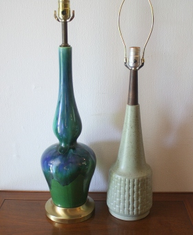 mcm blue green genie and speckled green pottery lamp 1