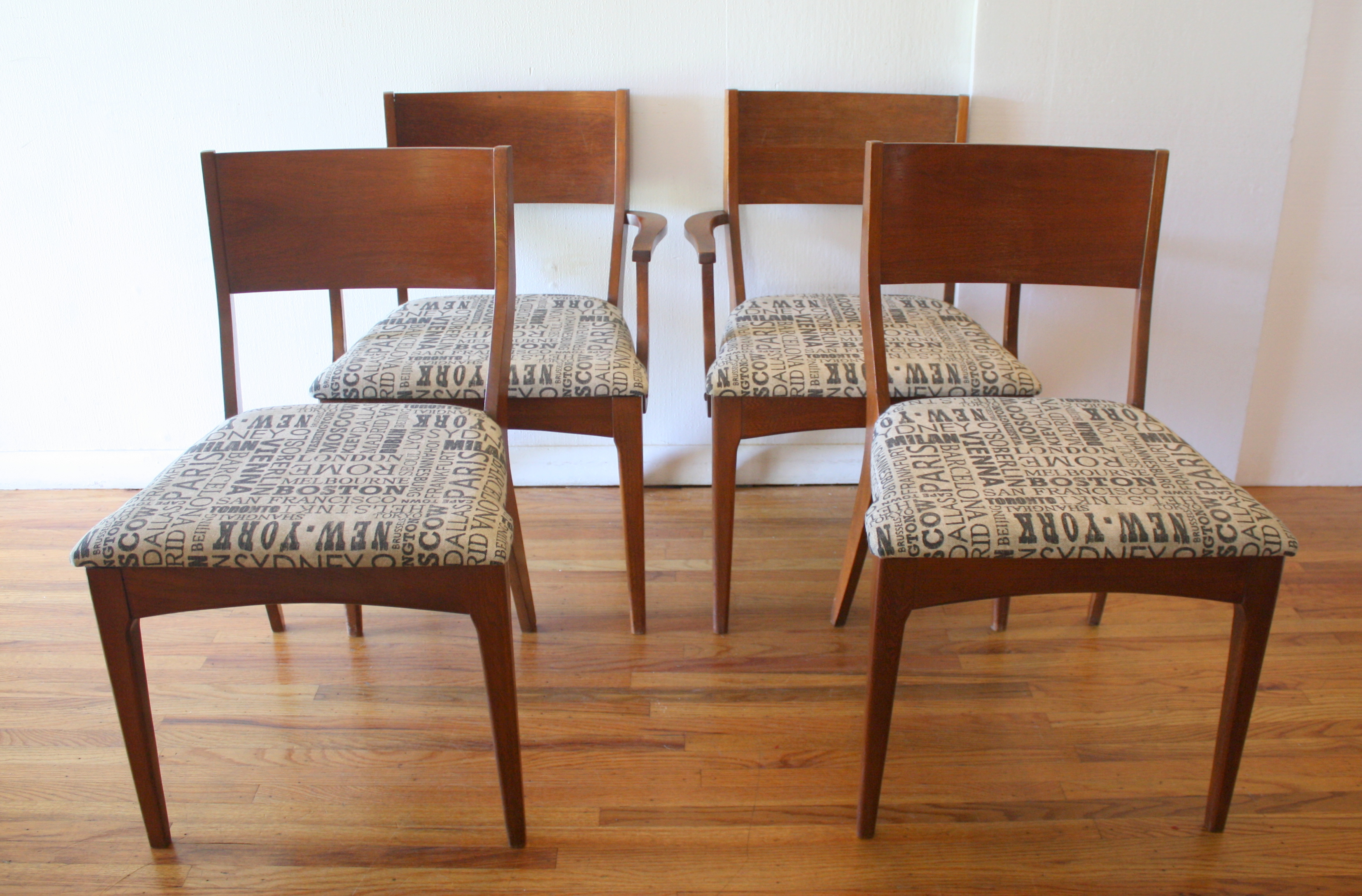 mcm dining set of 4 chairs city print 2