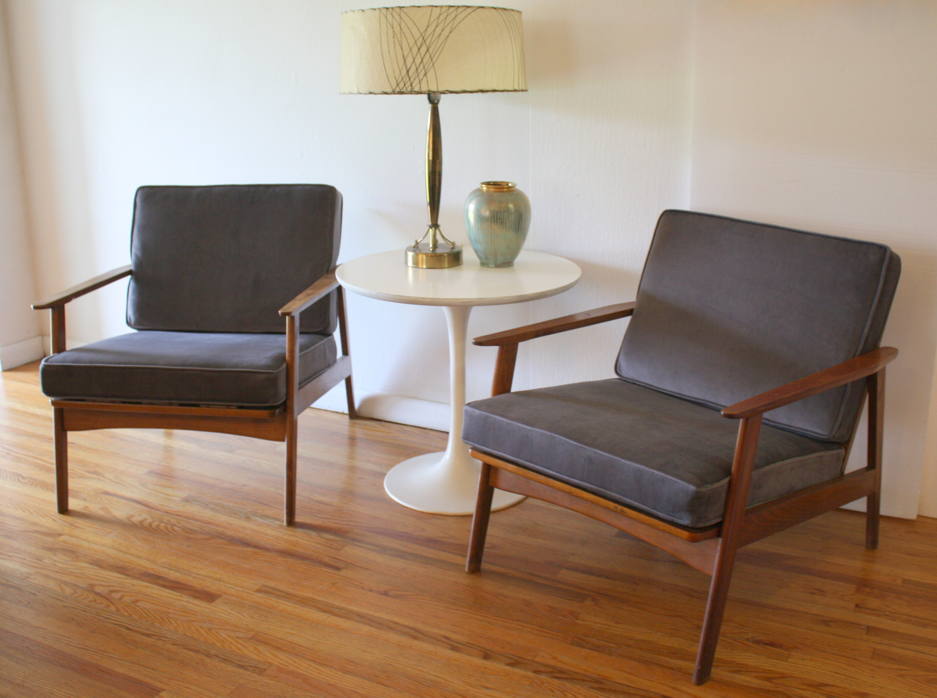 chairs  picked vintage - mcm elephant gray velvet arm chairs with tulip base side table