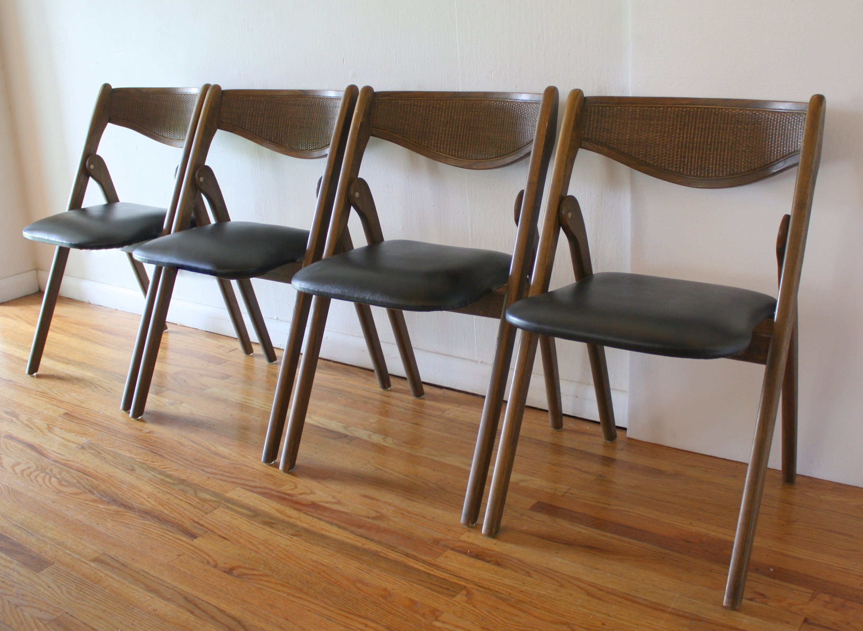 mcm folding chairs rattan backs 2