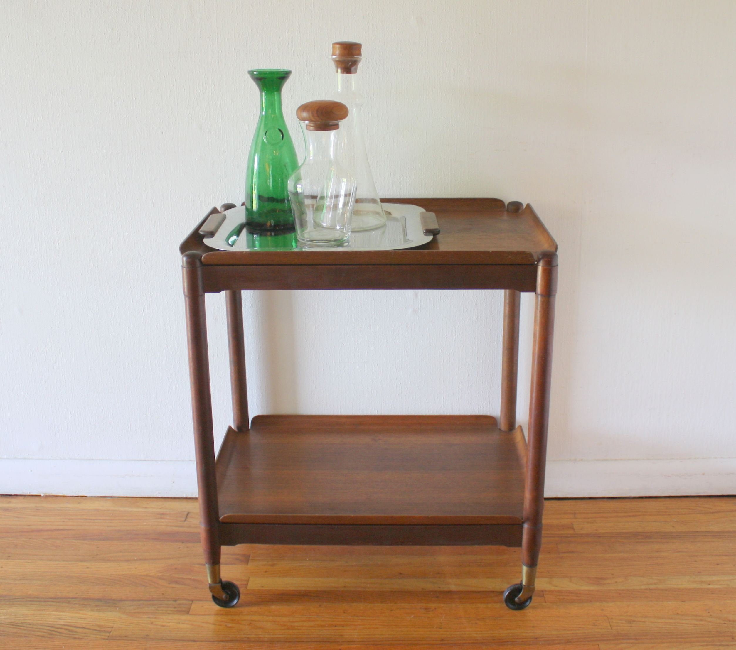 mcm folding serving bar cart with removable trays 1