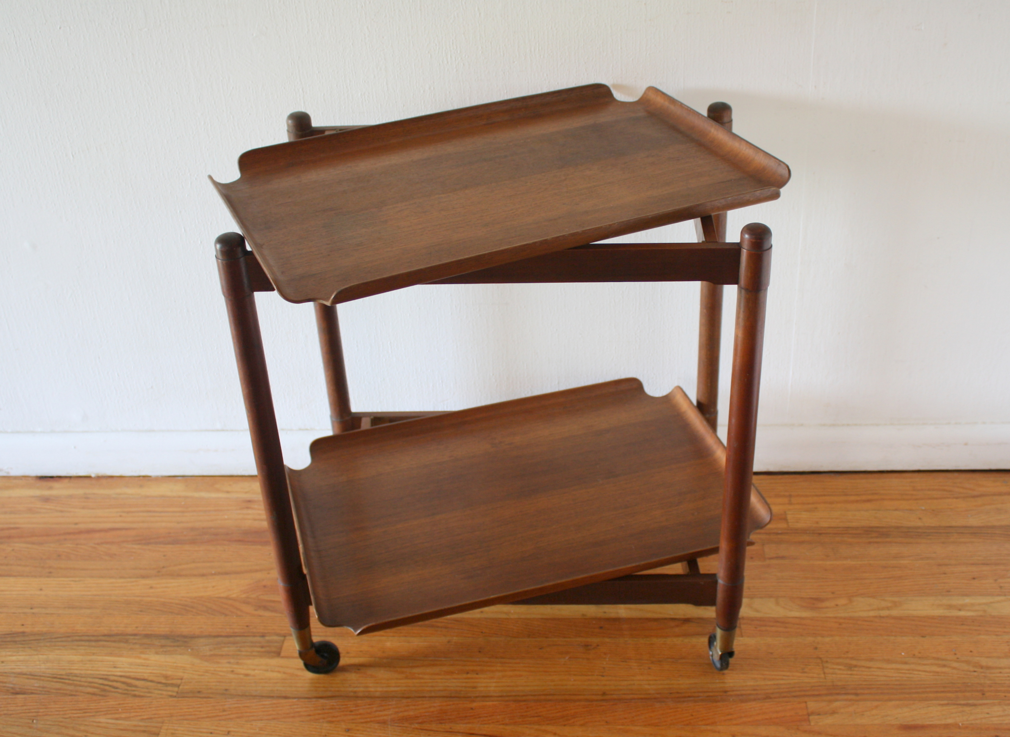 Mid Century Modern Folding Bar Serving Cart With Removable