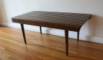 mcm slatted table bench with rounded edge 2