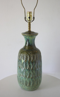 mcm textured blue green pottery lamp 1