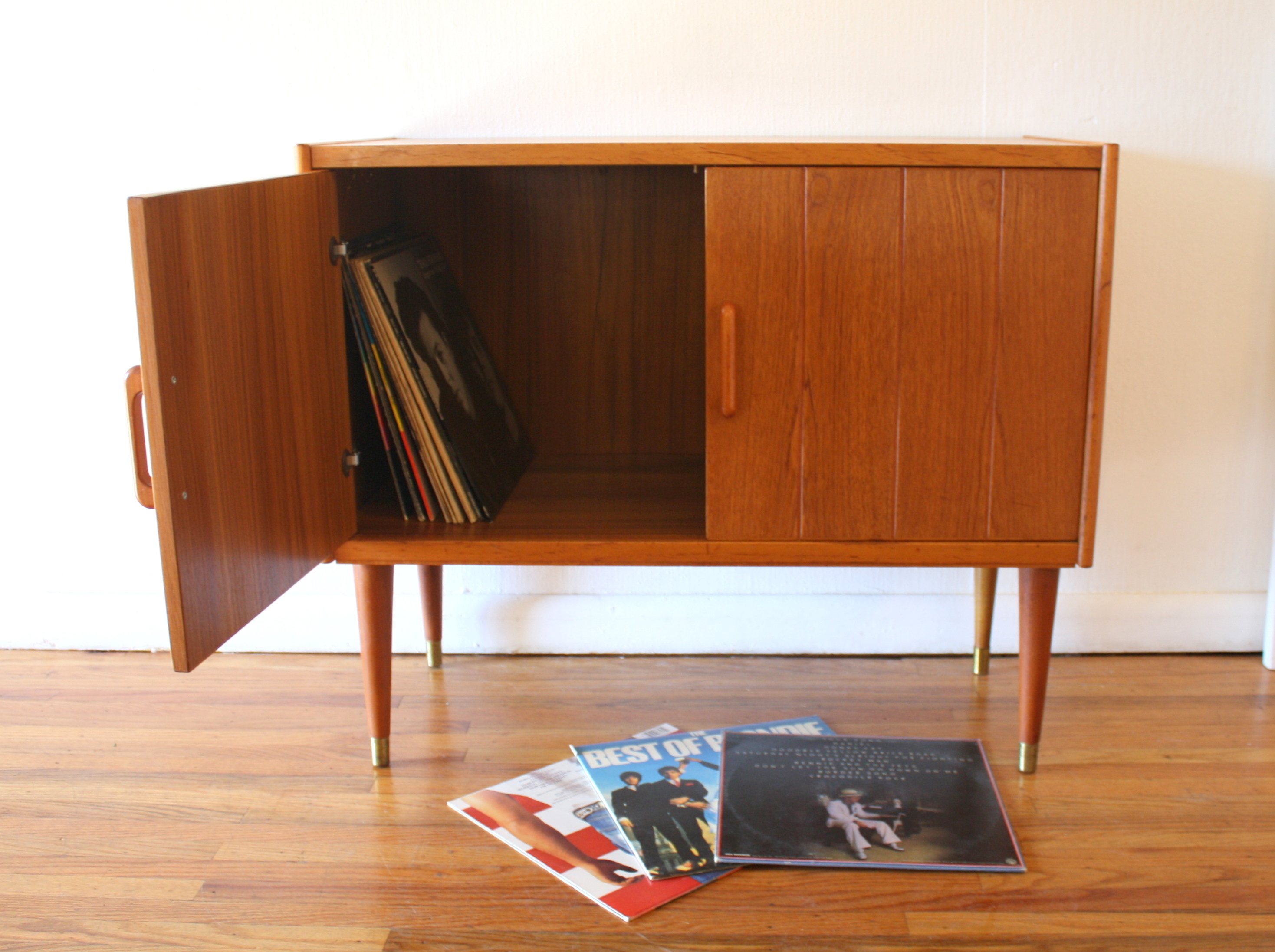 Mid Century Modern Norwegian Teak Record Cabinet And