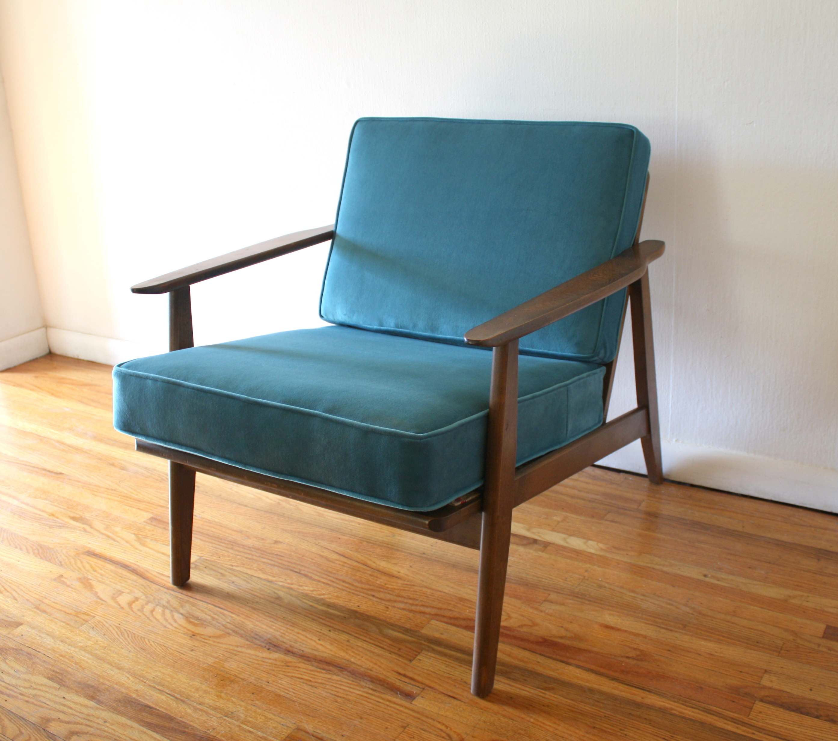mcm-arm-chair-with-teal-velvet-cushions-1