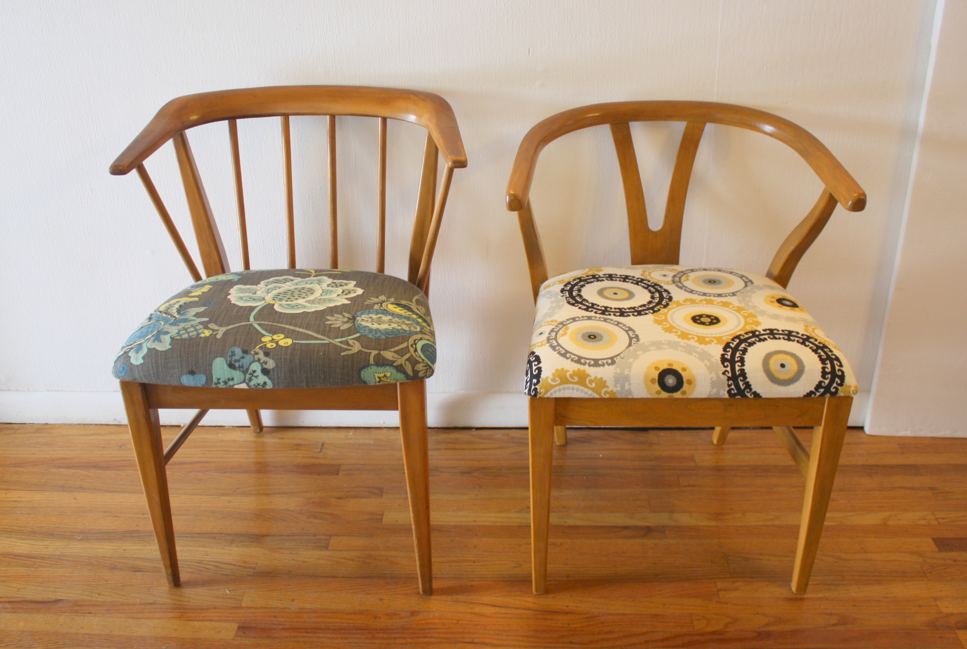 mcm-pair-of-arm-chairs-different-patterns-1 | Picked Vintage