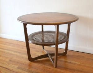 Lane round side end table with rattan shelf 1
