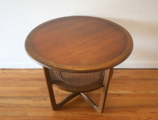 Lane round side end table with rattan shelf 2