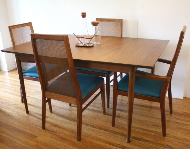 mcm house hudson dining table mid century modern set teal seats rattan chairs legs