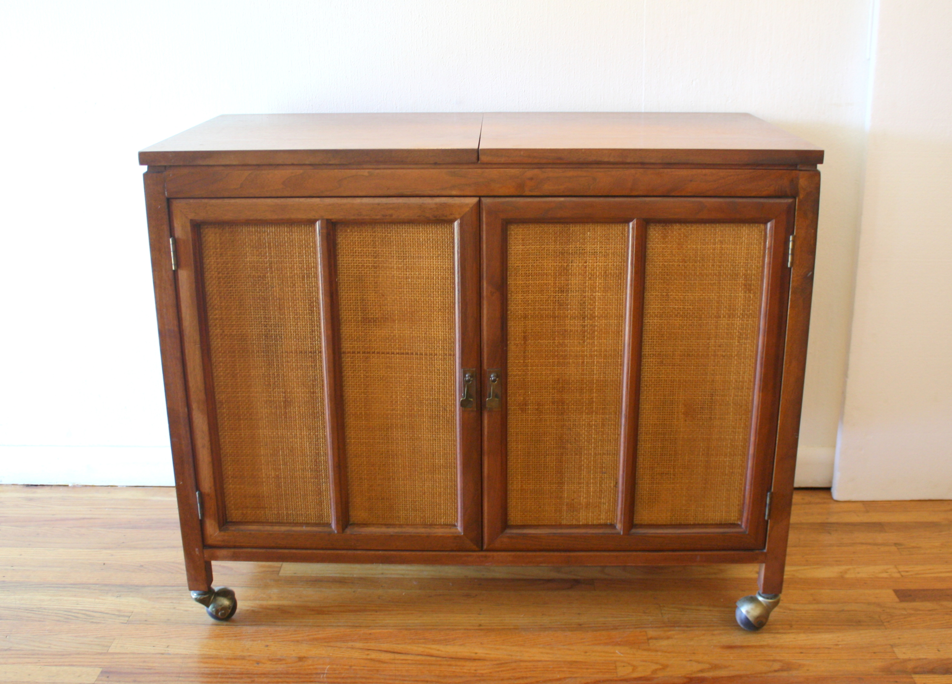 mcm hidden bar cabinet with rattan doors 4