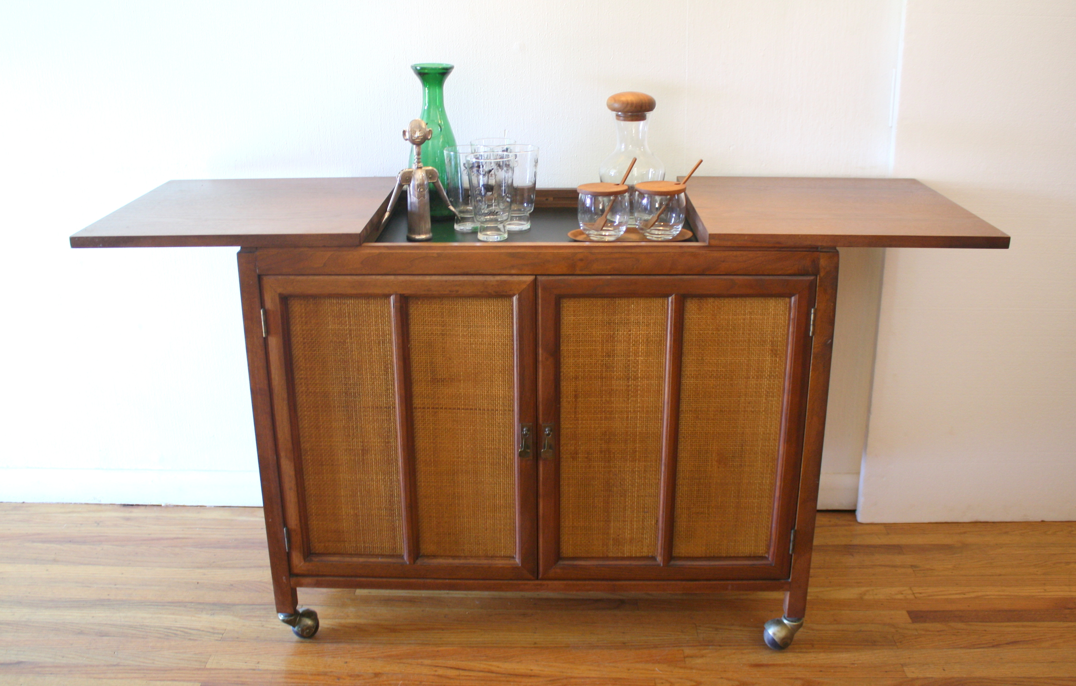 mcm hidden bar cabinet with rattan doors 6.JPG