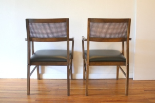 mcm pair of rattan back chairs 3