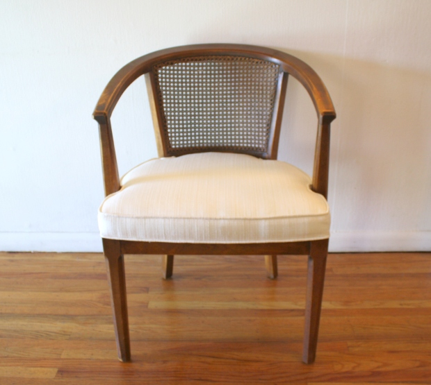 mcm white cream tweed rattan chair 1