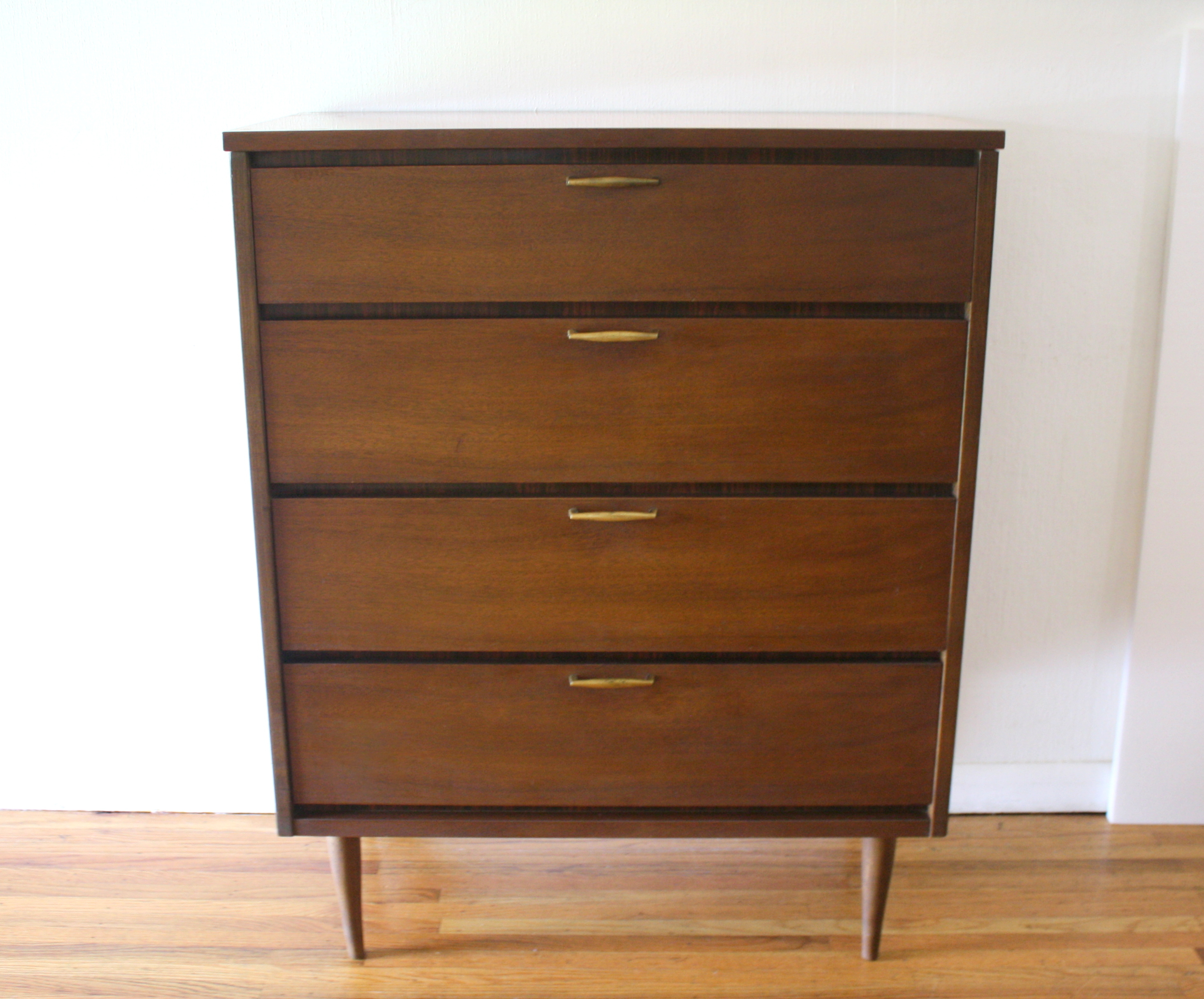Bassett tall dresser with brass handles 1