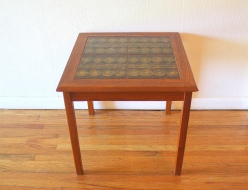 Danish teak tile table gold circles 3
