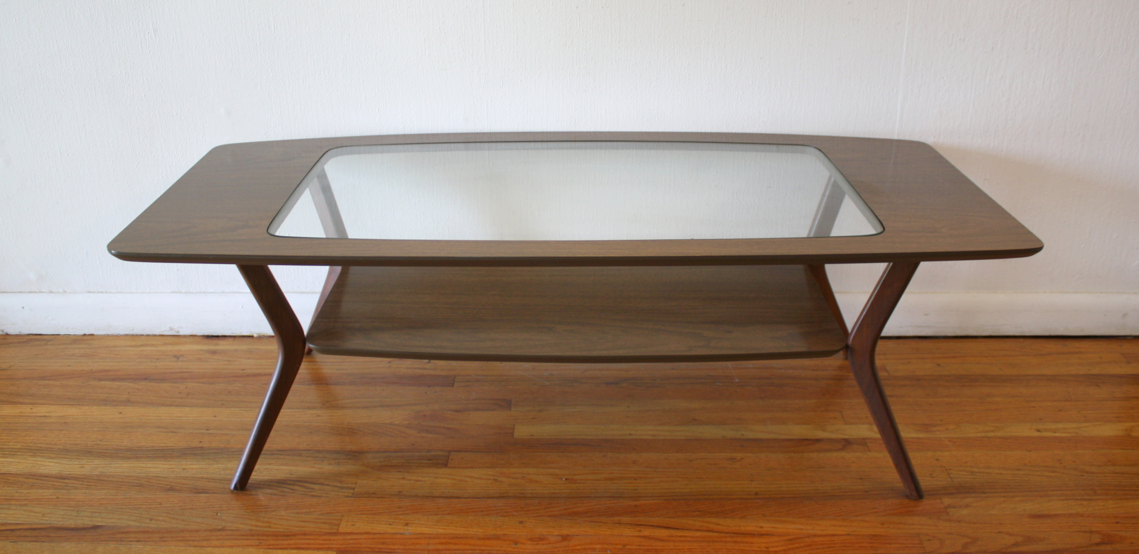 Mid Century Modern Glass Topped Coffee Table And Matching Side End Table Picked Vintage