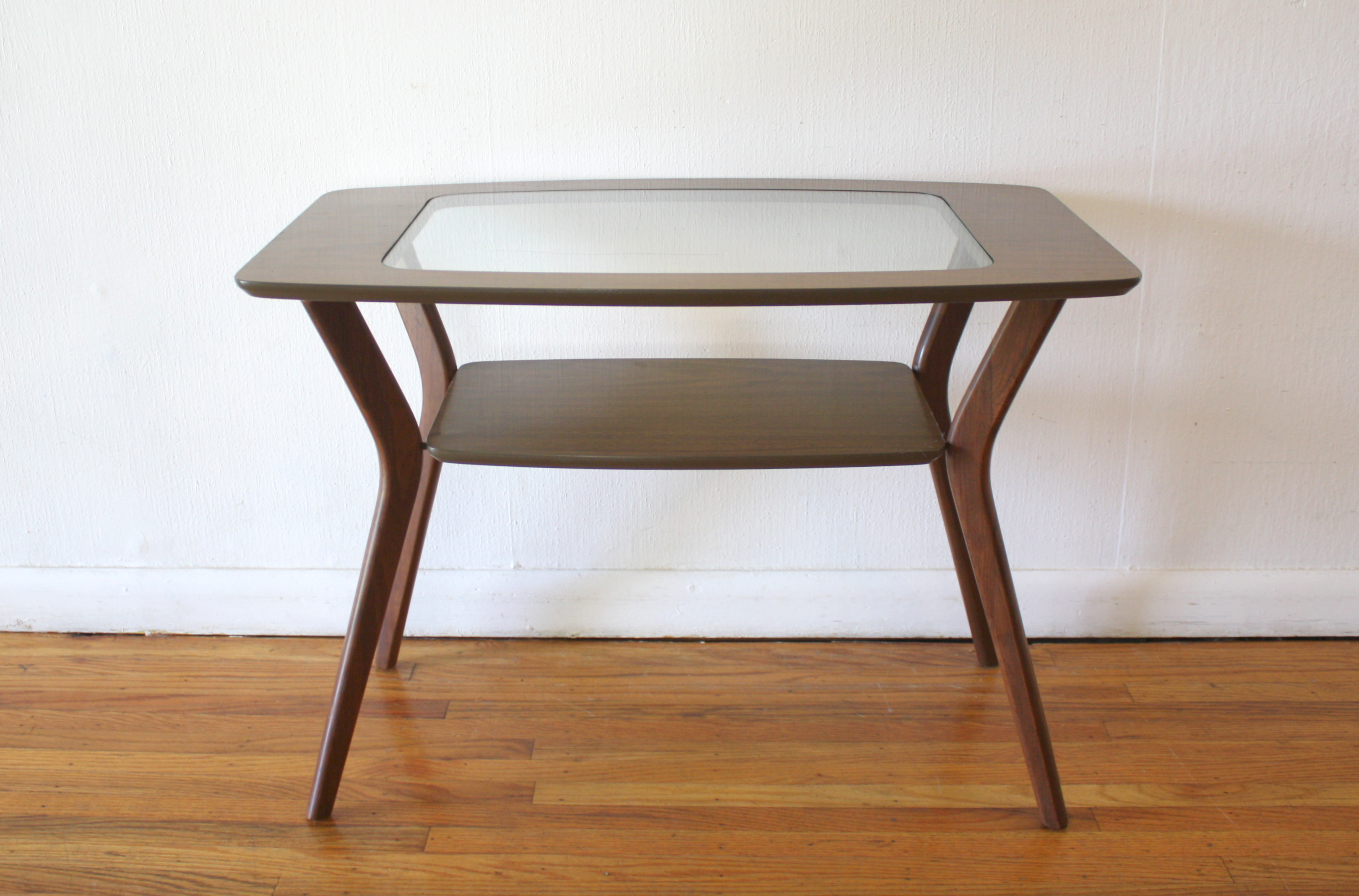 mcm glass insert side table 2
