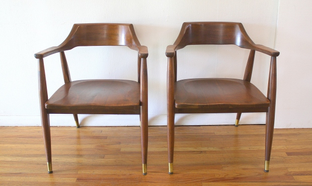 mcm pair of solid wood arm chairs 1