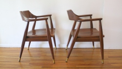 mcm pair of solid wood arm chairs 2