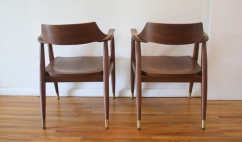 mcm pair of solid wood arm chairs 3
