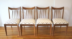 mcm set of 4 dining chairs gray chevron 1