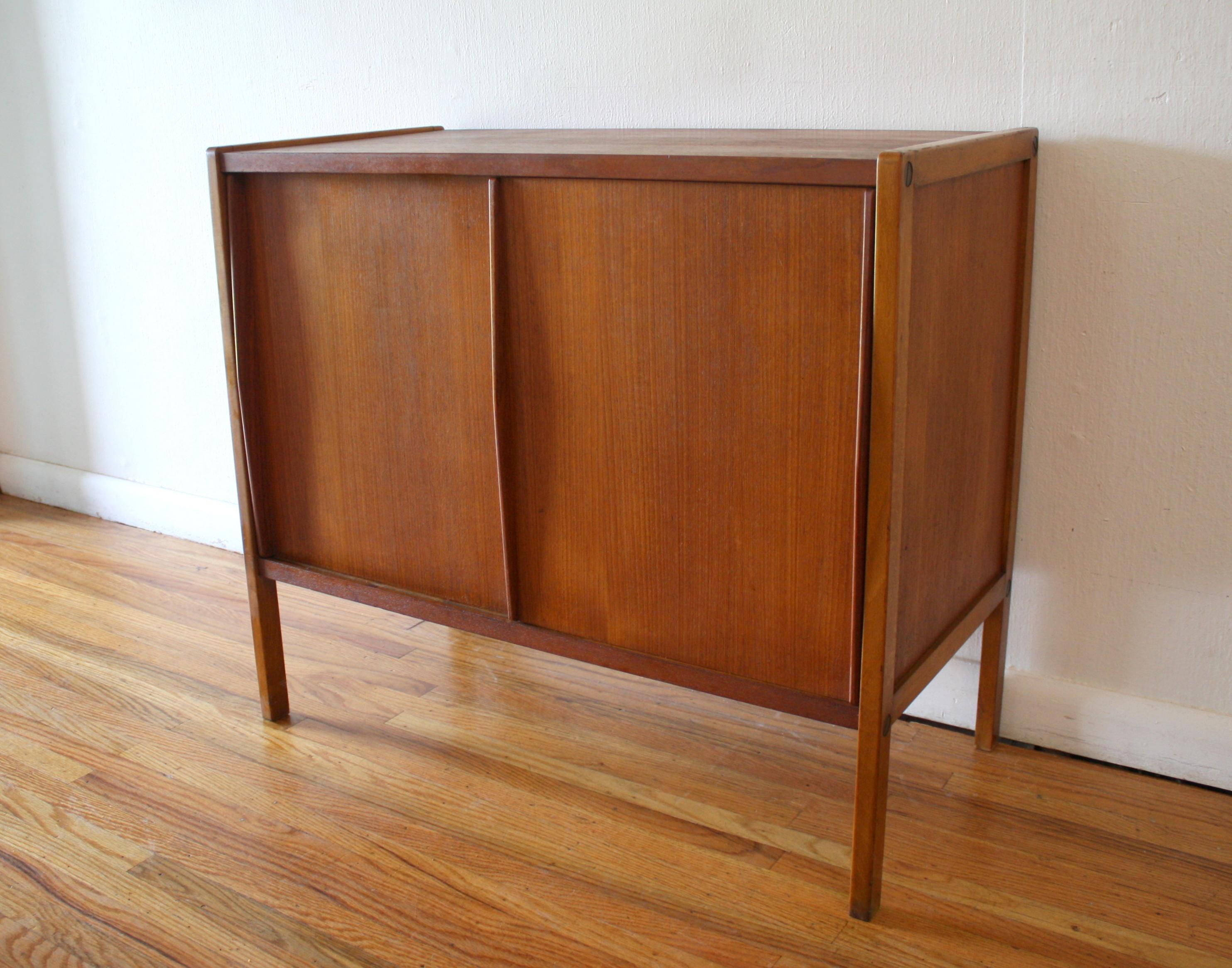 mcm teak sliding door cabinet 1