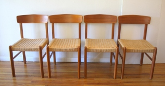 mcm teak woven seat chairs 1