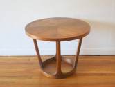 Lane round parquet sculpted base side end table 1
