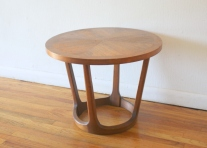 Lane round parquet sculpted base side end table 2