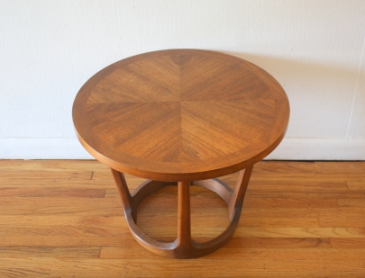Lane round parquet sculpted base side end table 3
