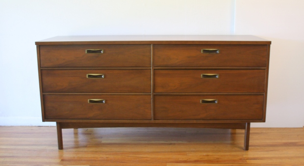 mcm brass handle low dresser credenza 1