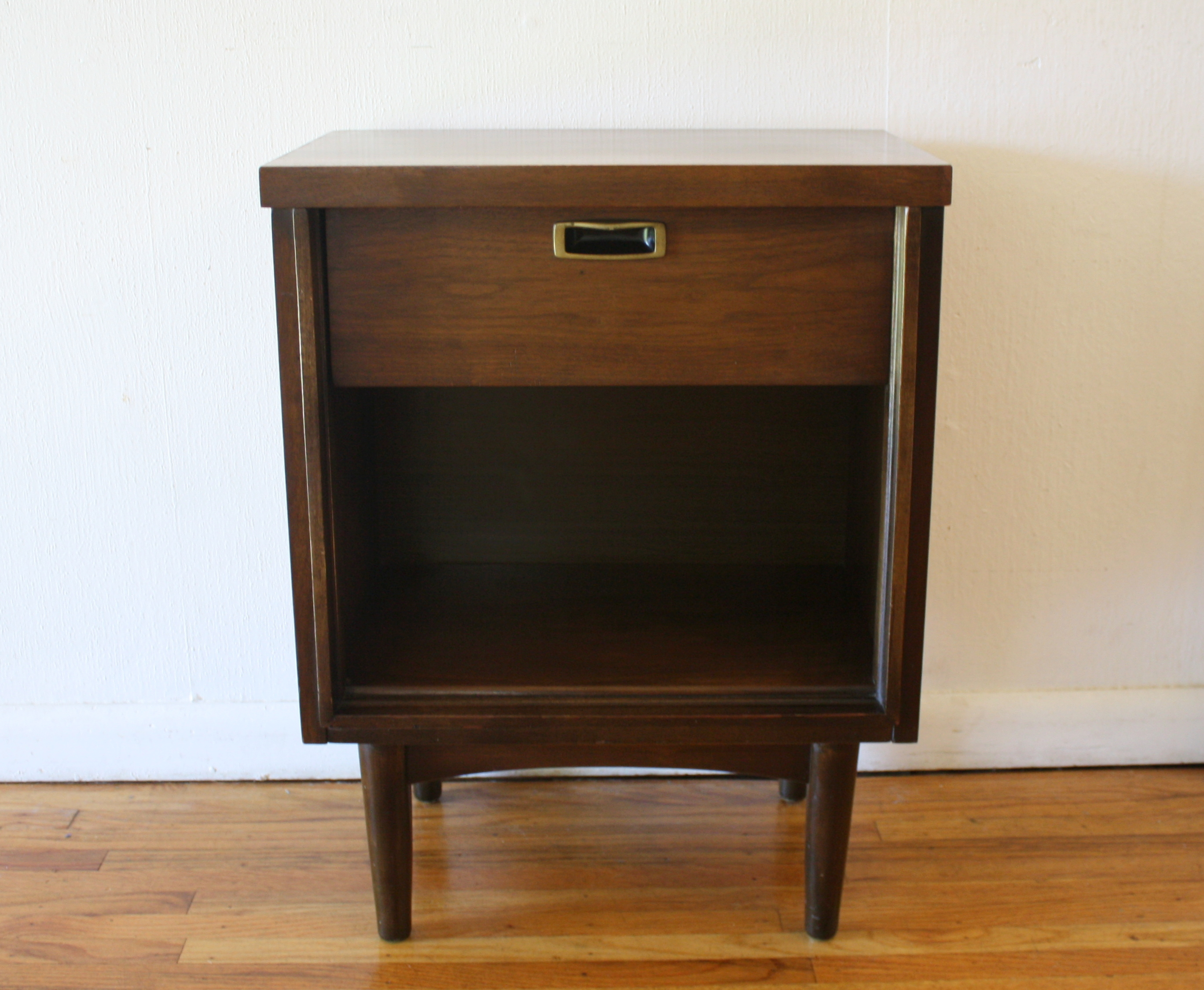 mcm matching nightstand with brass handles 1