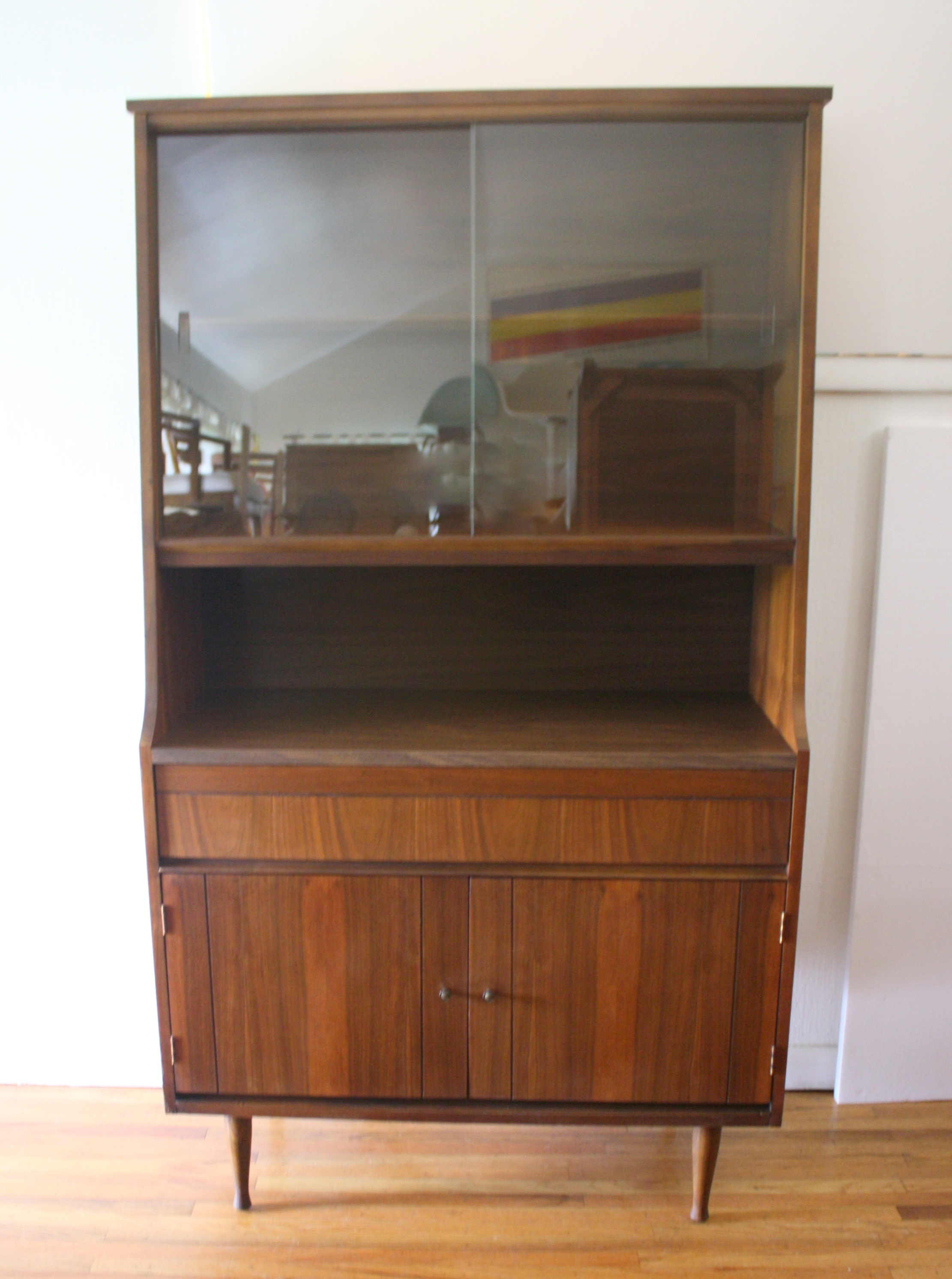 Mid Century Modern China Cabinet Hutch Shelf Unit Picked