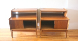 pair of 2 tiered nightstands withsliding doors 3