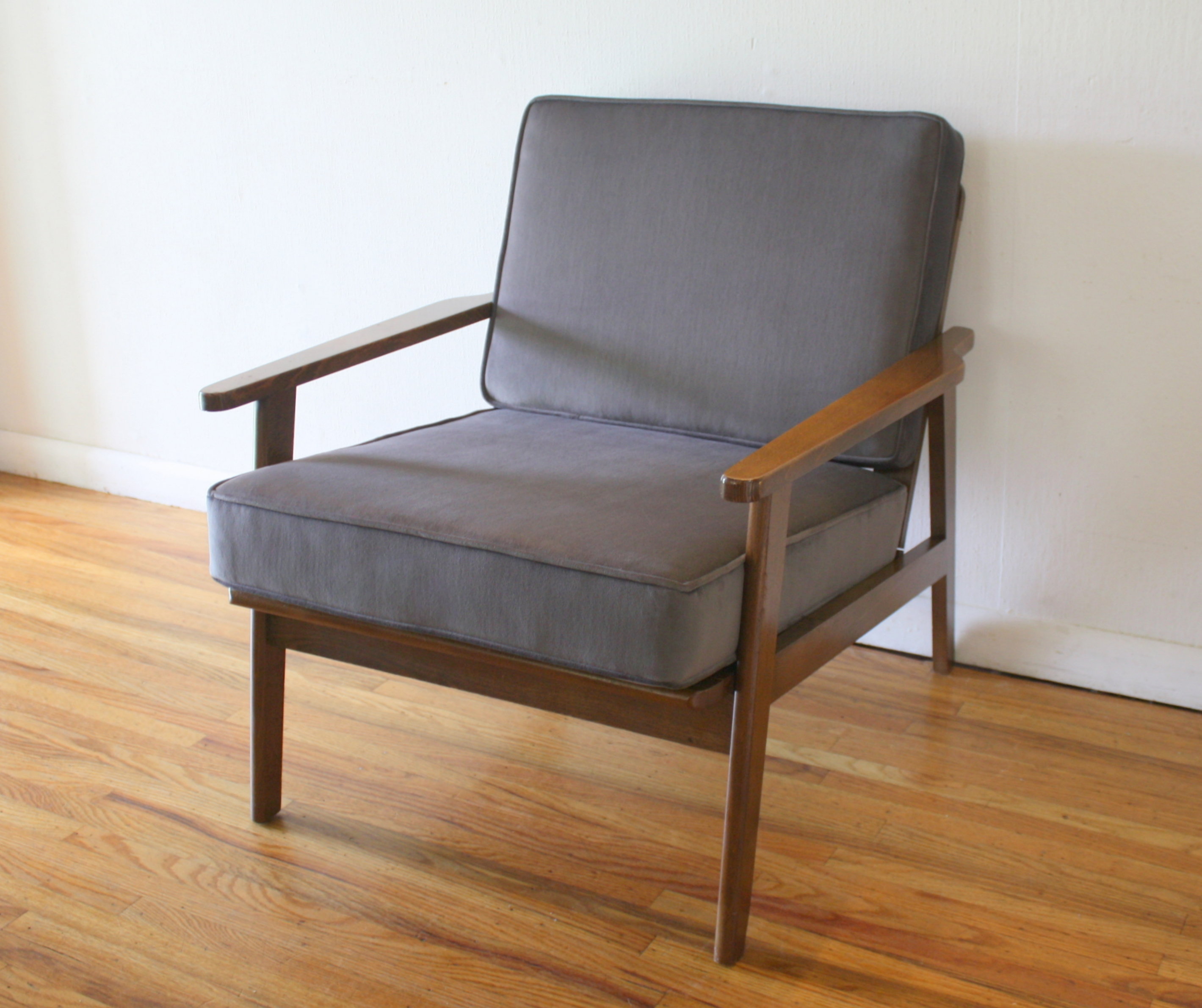 mcm elephant gray velvet arm lounge chair 1