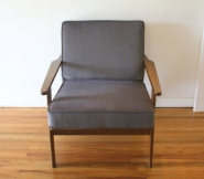 mcm elephant gray velvet arm lounge chair 2