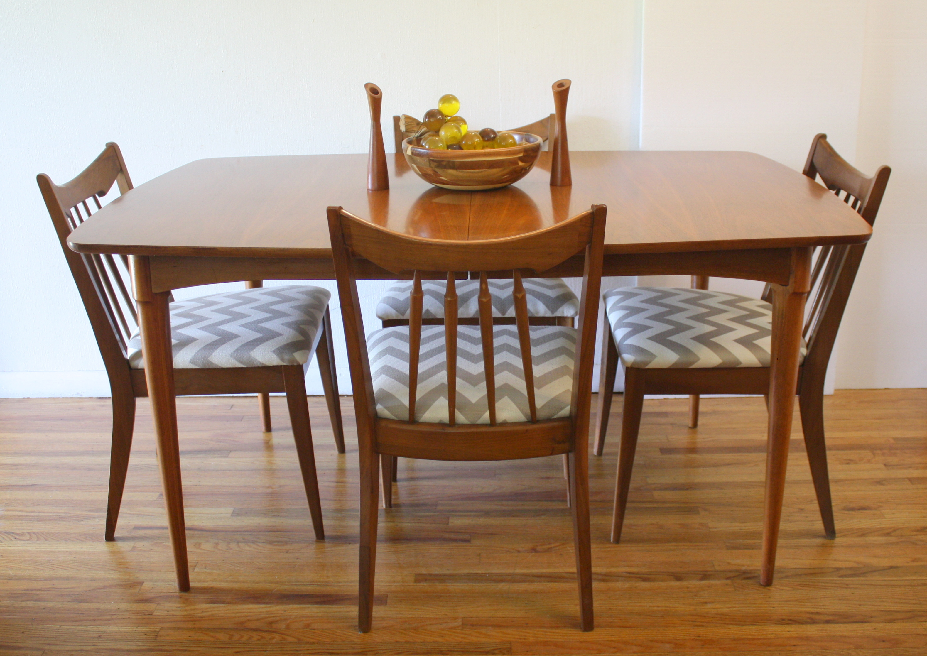 mcm surfboard dining table and chevron chairs 1.JPG