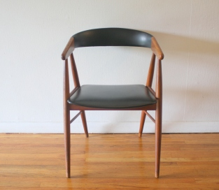 Danish teak chair black naugahyde 2