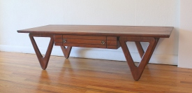 mcm coffee table with angled sculpted base 1