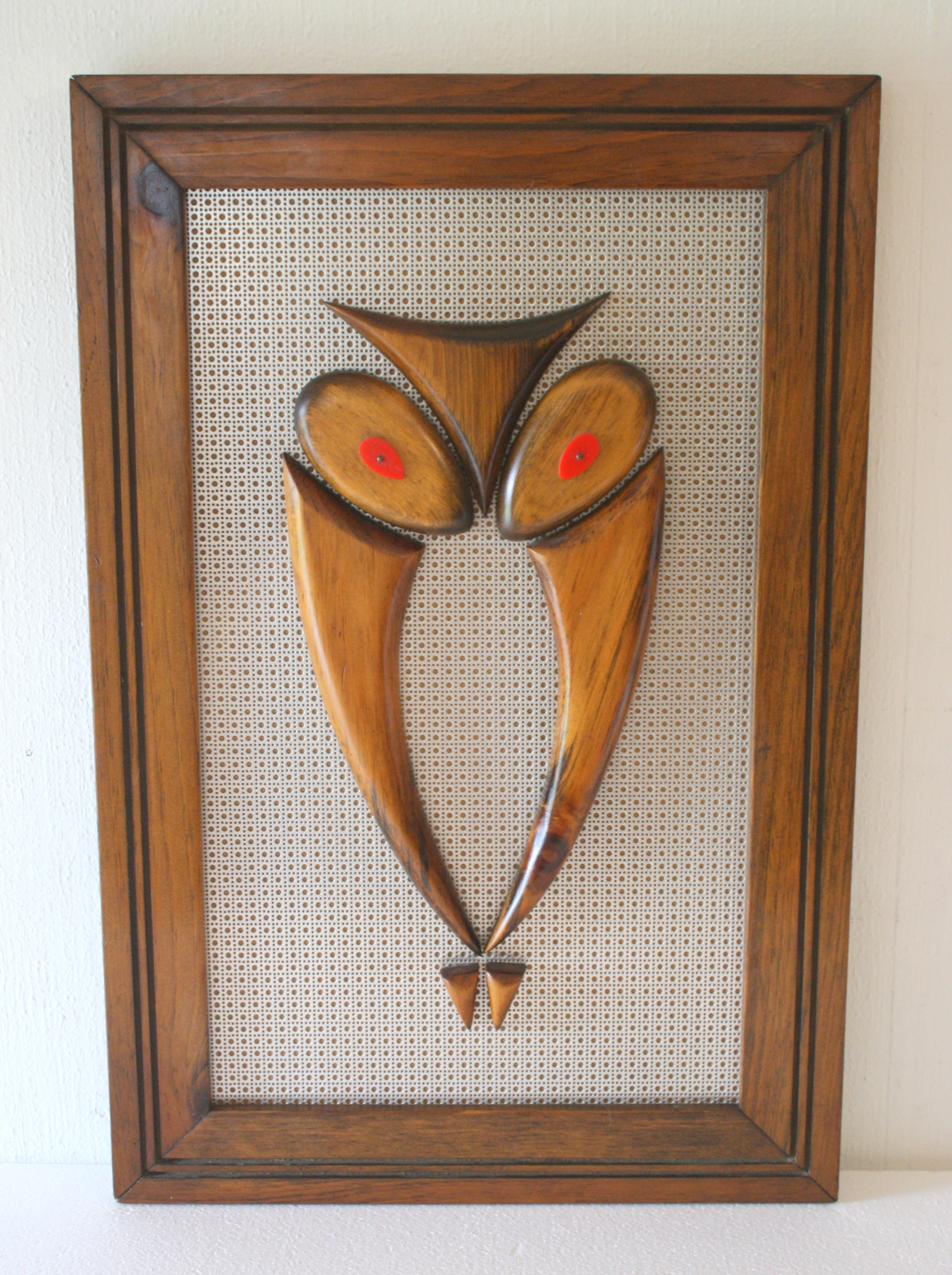Mid Century Modern Owl Art On Metal Picked Vintage