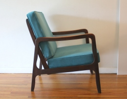 mcm arm chair teal velvet cushions 2