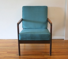 mcm arm chair teal velvet cushions 3