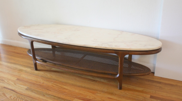 4c89327d59c1 Mid Century Modern Marble Topped Surfboard Coffee Table
