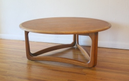 Lane round coffee table sculpted base 2